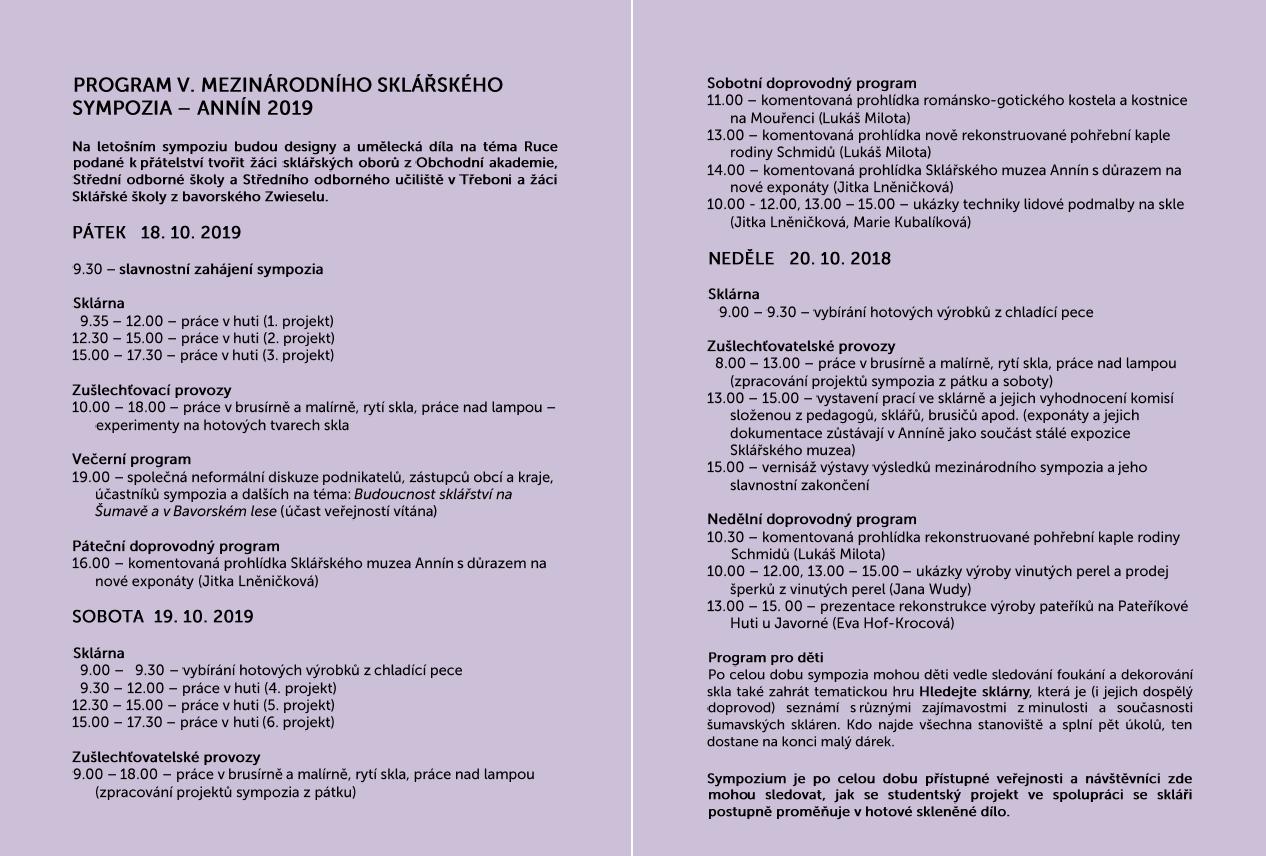 Mezinárodní sklářské symposium Annín 2019